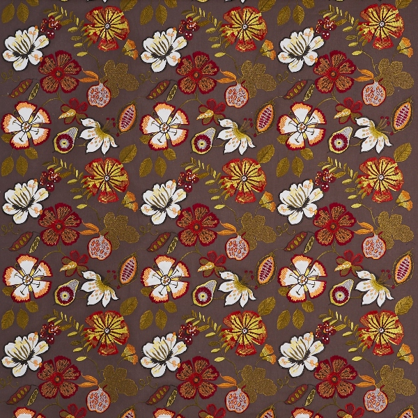 Passion Flower Paprika  56% Poly/ 25% Cott/ 19% Visc  141cm (useable 128cm) | 46cm  Curtaining & Accessories  Embroidered
