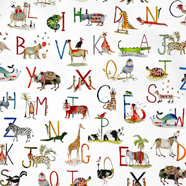 Animal Alphabet Paintbox  100% Cotton  137cm   96cm  Curtaining