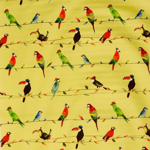 Toucan Talk Zest  100% Cotton  137cm   62cm  Curtaining