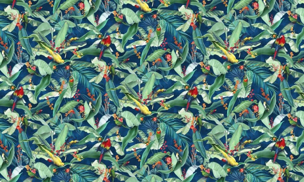 Macaw Midnight  100% Cotton  Approx. 280cm Drop (Railroaded) | V: 66cm H:55cm  Dual Purpose 20,000 Rubs