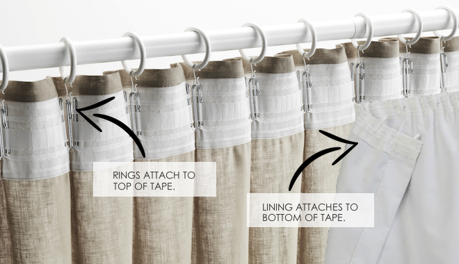 TOP TIP - When using curtain rings to hang your taped curtain, simply attach the rings on the top side of the tape, while attaching the lining to the bottom of the tape.
