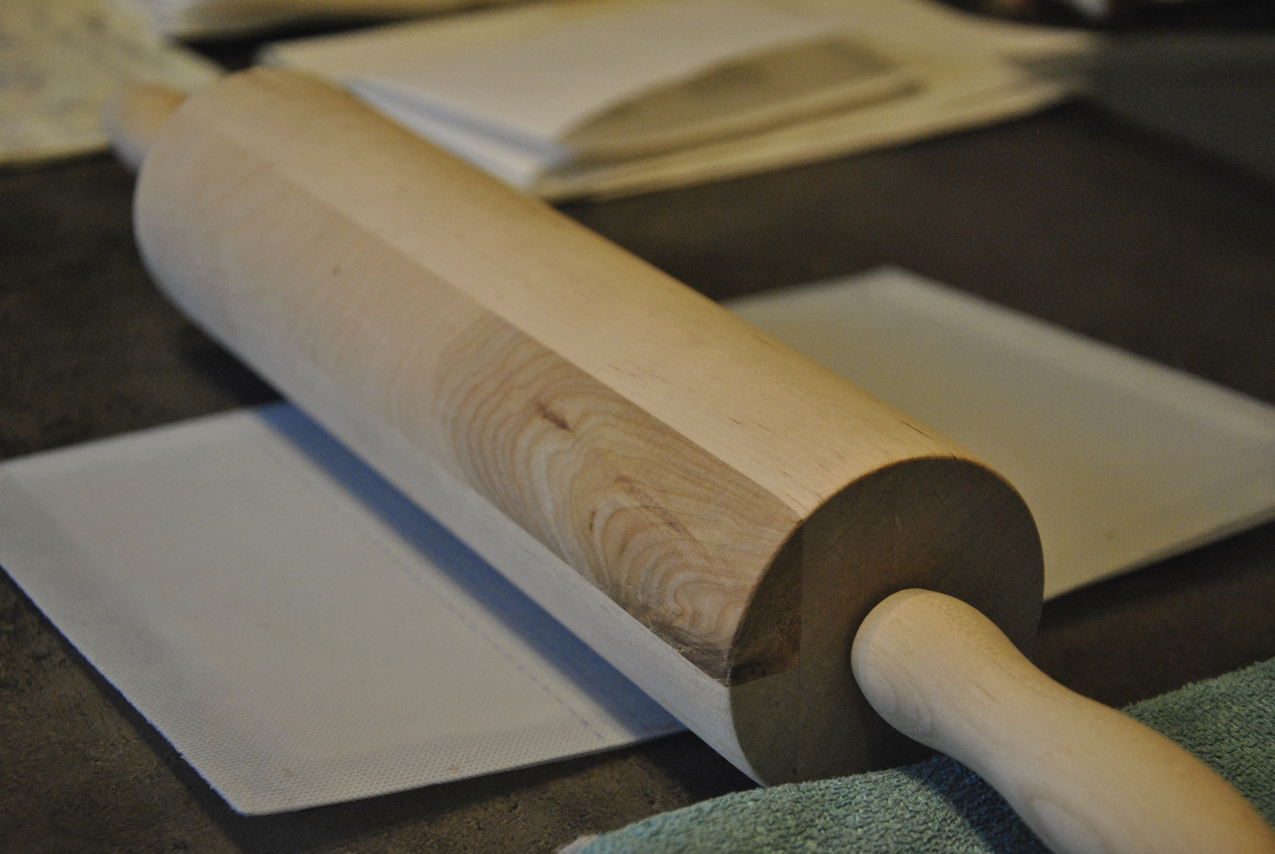 remove last bit of water with rolling pin