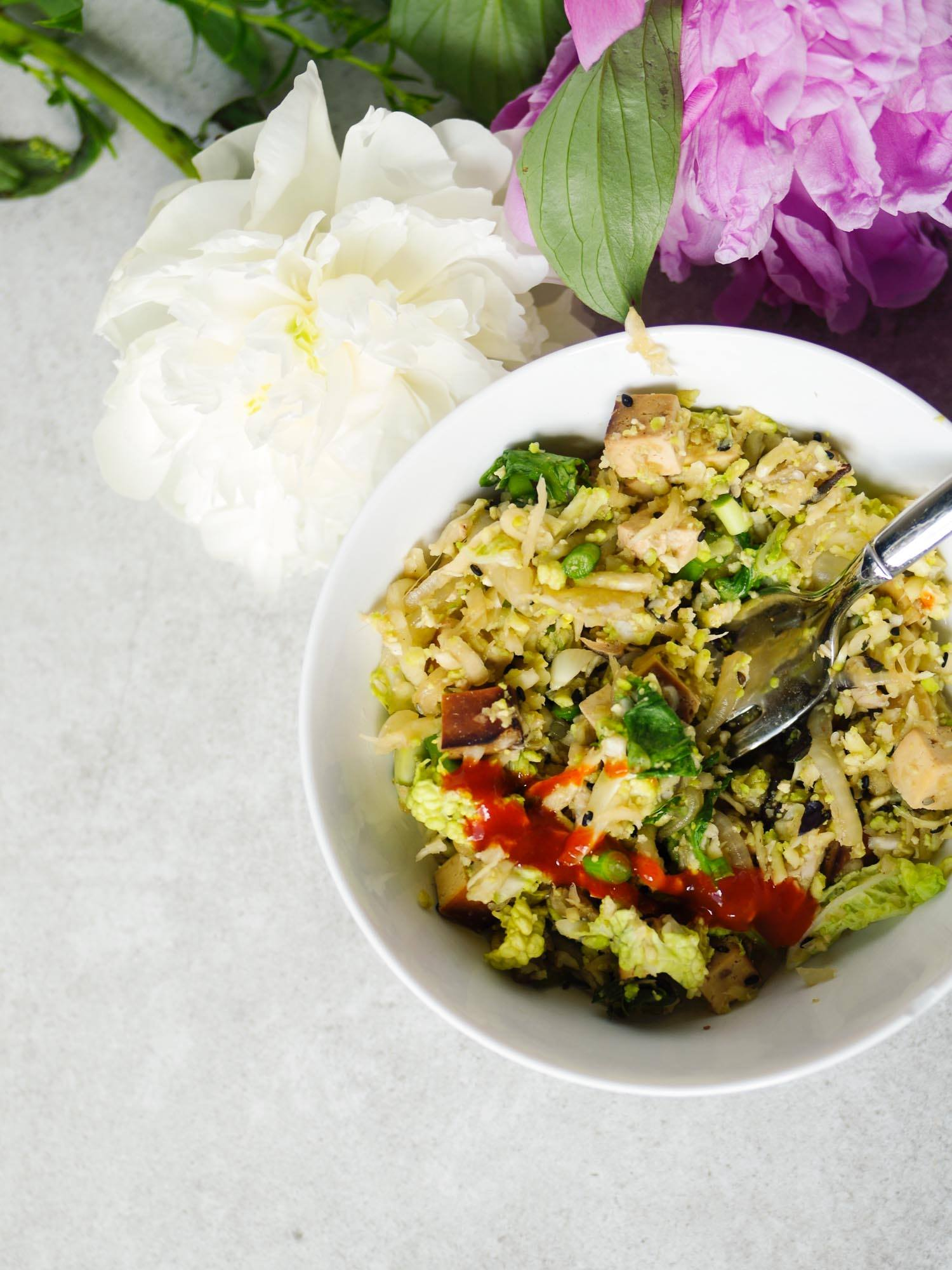 Cauliflower Fried Rice Made Oil-Free