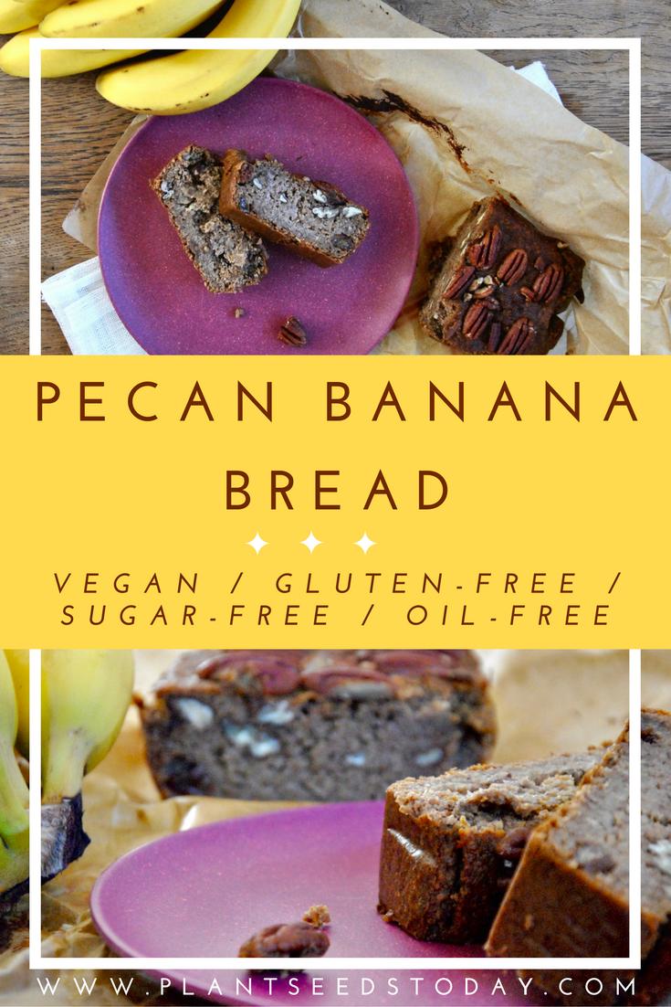 Pecan Banana Bread (Vegan, Gluten-Free, Sugar-Free, Oil-Free)