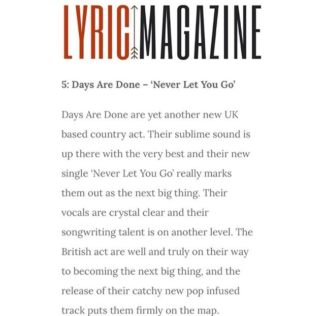 Days Are Done Lyric Mag