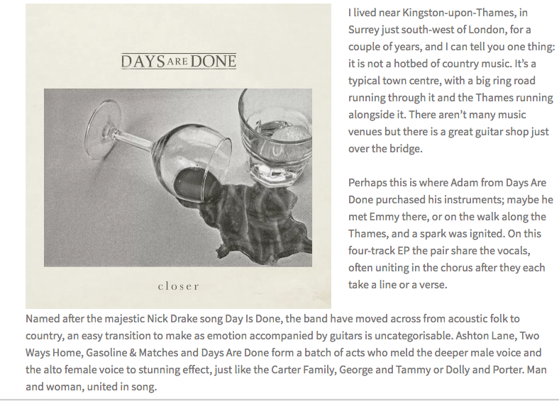 Days Are Done Closer EP review