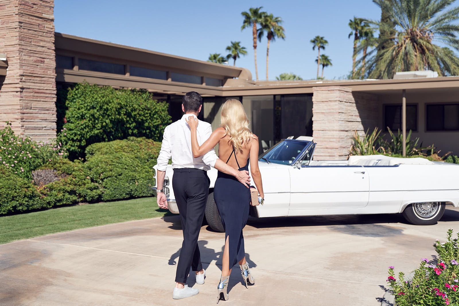 Saasha Burns & Sammy Leethem on their way to BEAR launch Frank Sinatra's House Palm Springs by Lost In Love Photography