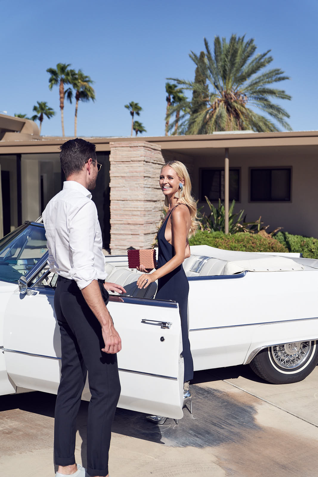 Saasha Burns and Sammy Leetham on their way to BEAR launch Frank Sinatra's House Palm Springs by Lost In Love Photography