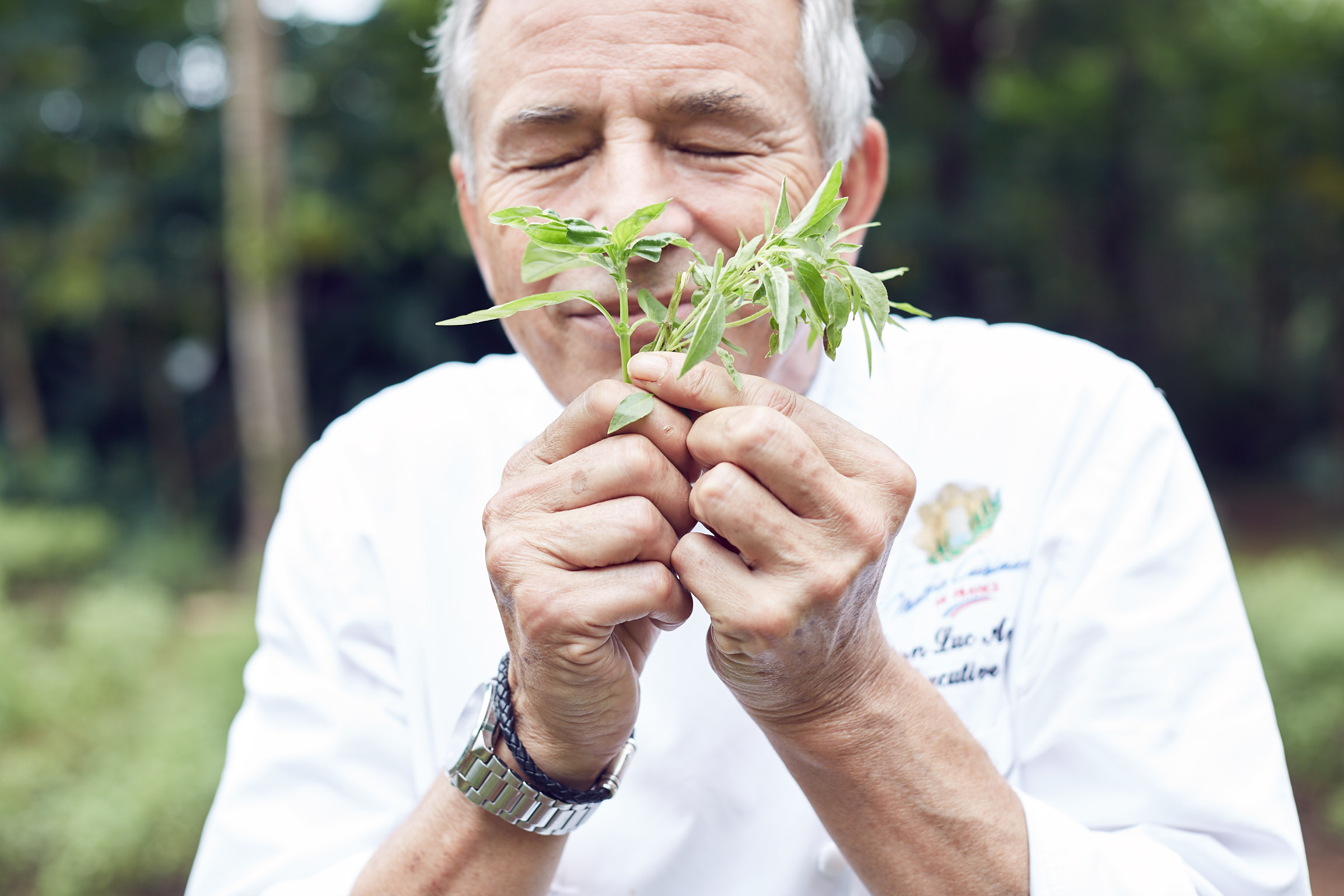 Laucala Island herb garden with chef Jean Luc Amann. Photos by Lost In Love Photography