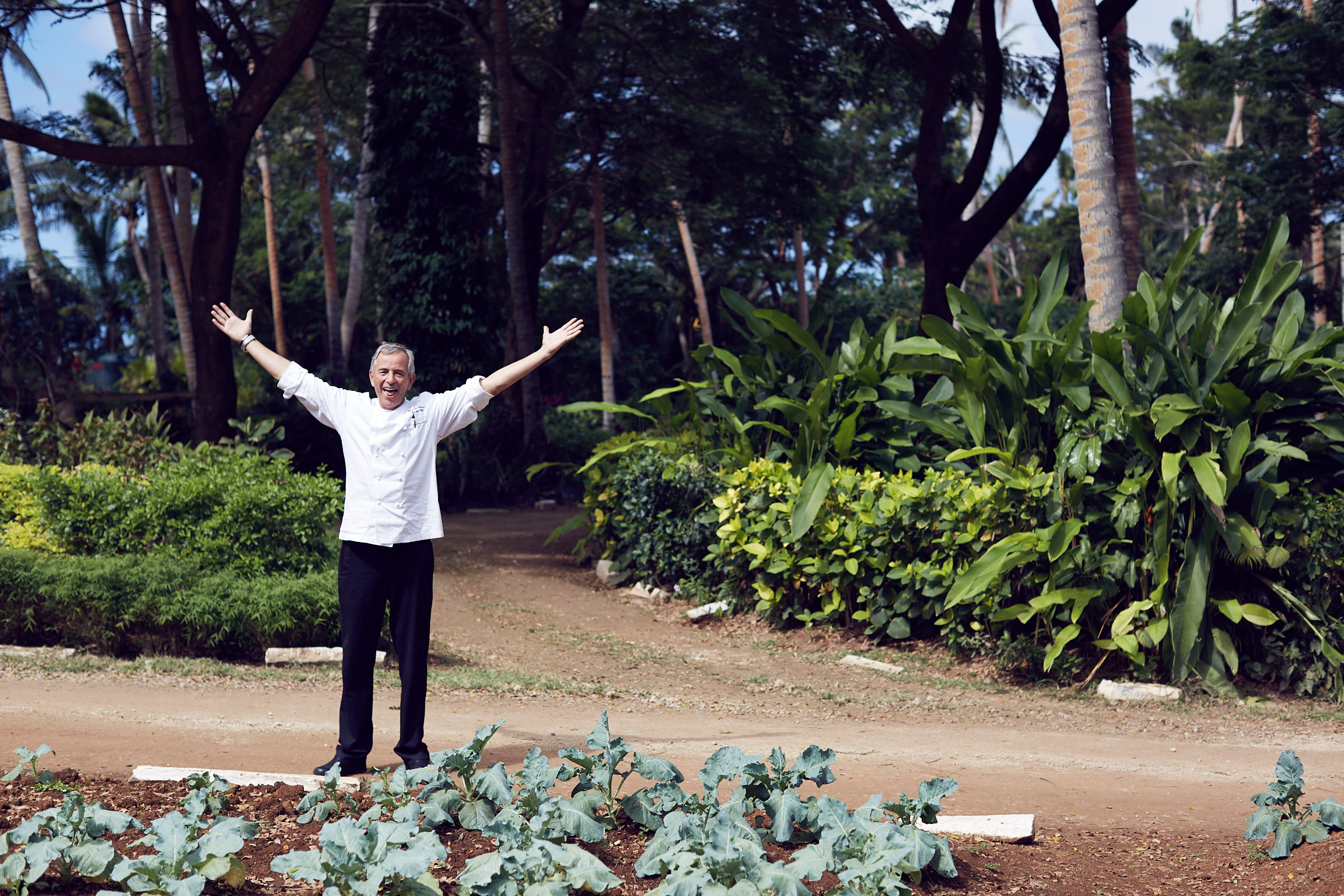 Laucala Island vegetable garden with chef Jean Luc Amann. Photos by Lost In Love Photography