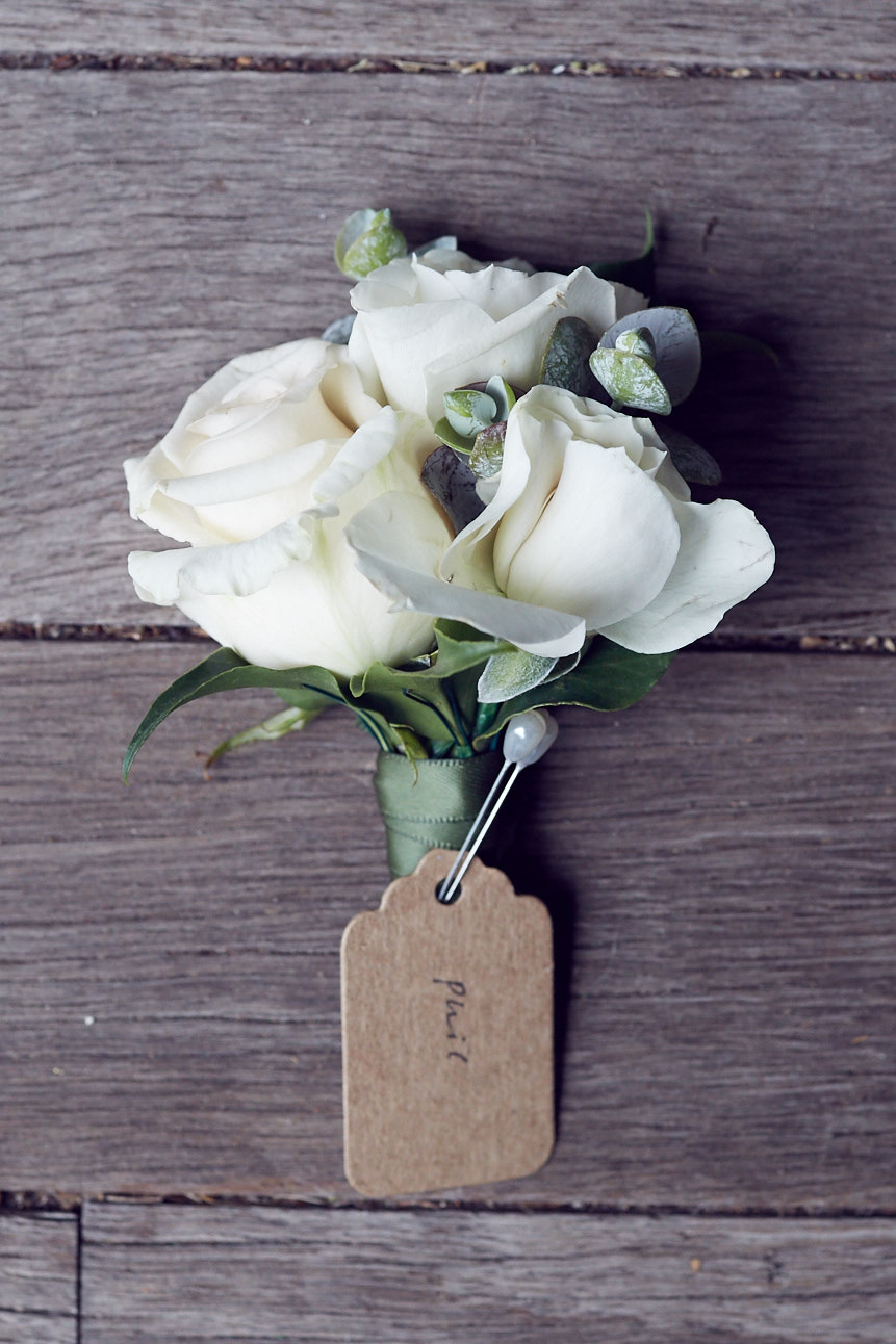 Triple rosebud boutonniere by Sugarbee Flowers