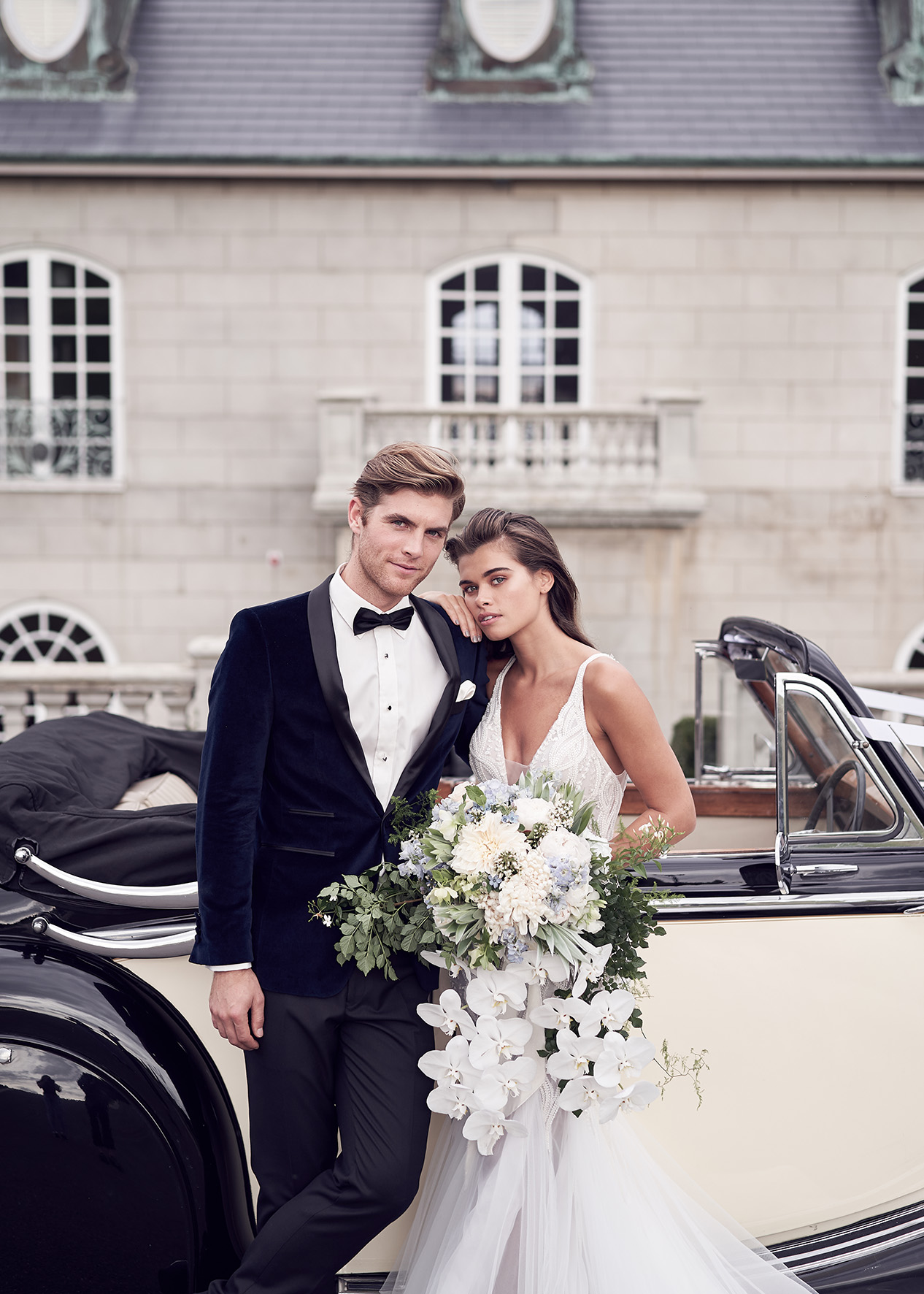 classic and chic wedding vintage car Campbell point house by lost in love photography
