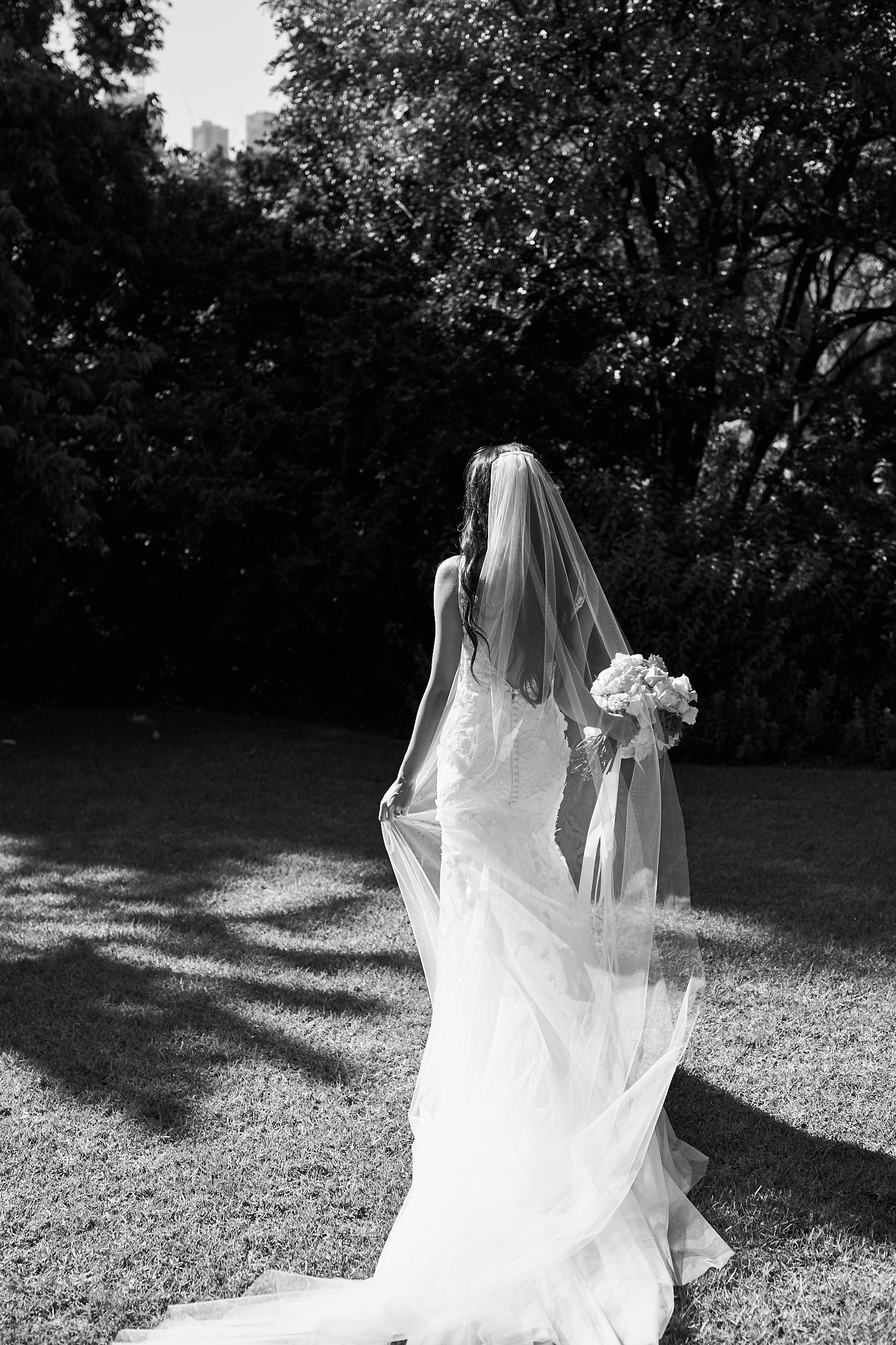 Melbourne Botanical garden wedding bride black and white by Lost In Love Photography