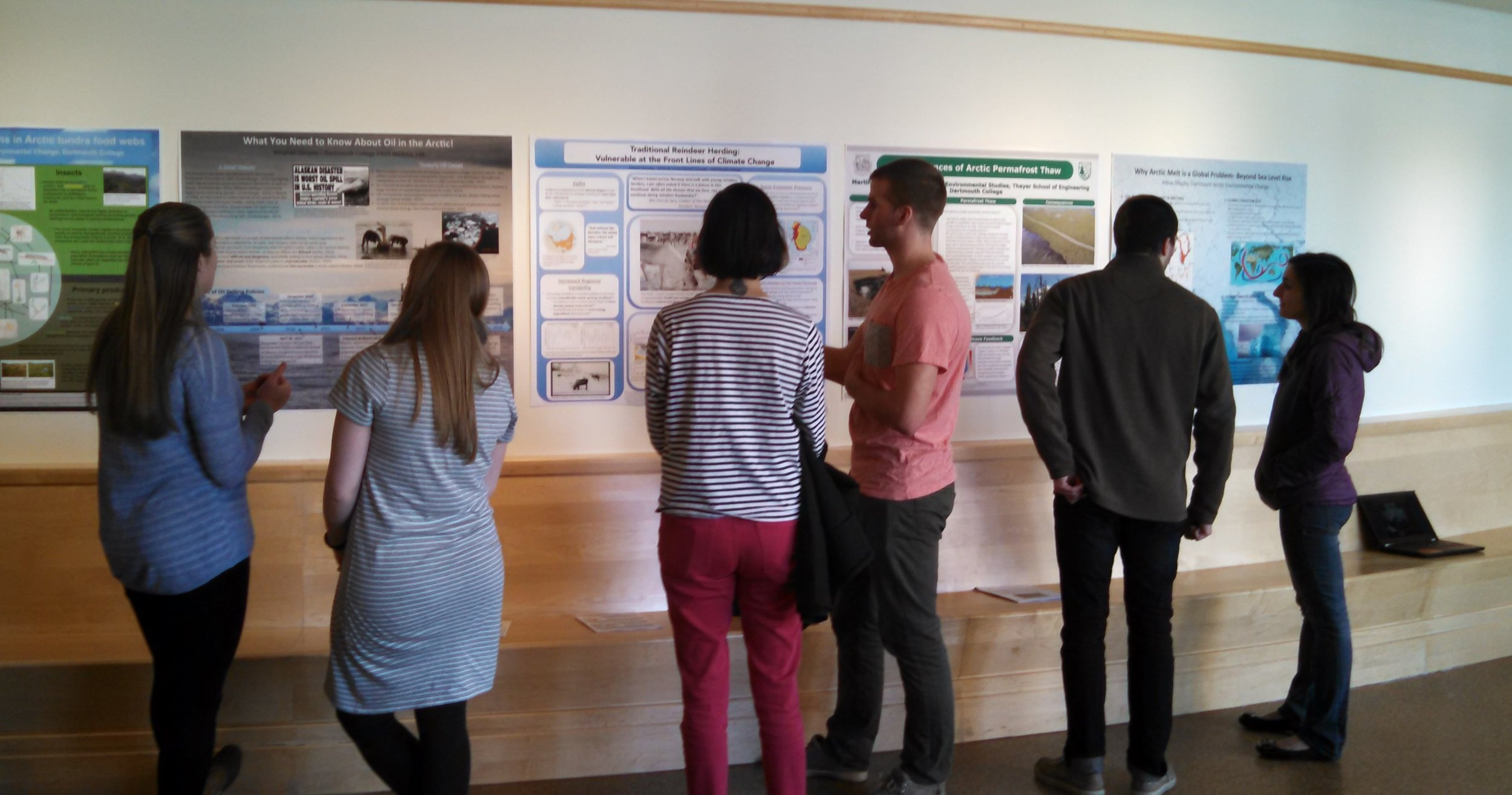 Students in ENVS80 Arctic Environmental Change present their culminating projects to the Dartmouth community during a poster session in the Russo Gallery, March 2016.