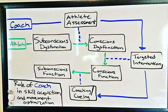 This slide demonstrates the role of the functional fitness coach in skill acquisition and the movement optimization of their athletes.  It also illustrates the importance of having a system of assessment for your athletes, an up to date understanding of effective mobility strategies (hint it has very little to do with stretching, rolling, or smashing), and a thorough understanding of verbal and visual coaching/cueing. #crossfit #crossfitbox #crossfitcoach #mastery #mobility #movement #wodmedic #wod #functionaltraining #functionalfitness #fitnesscoach