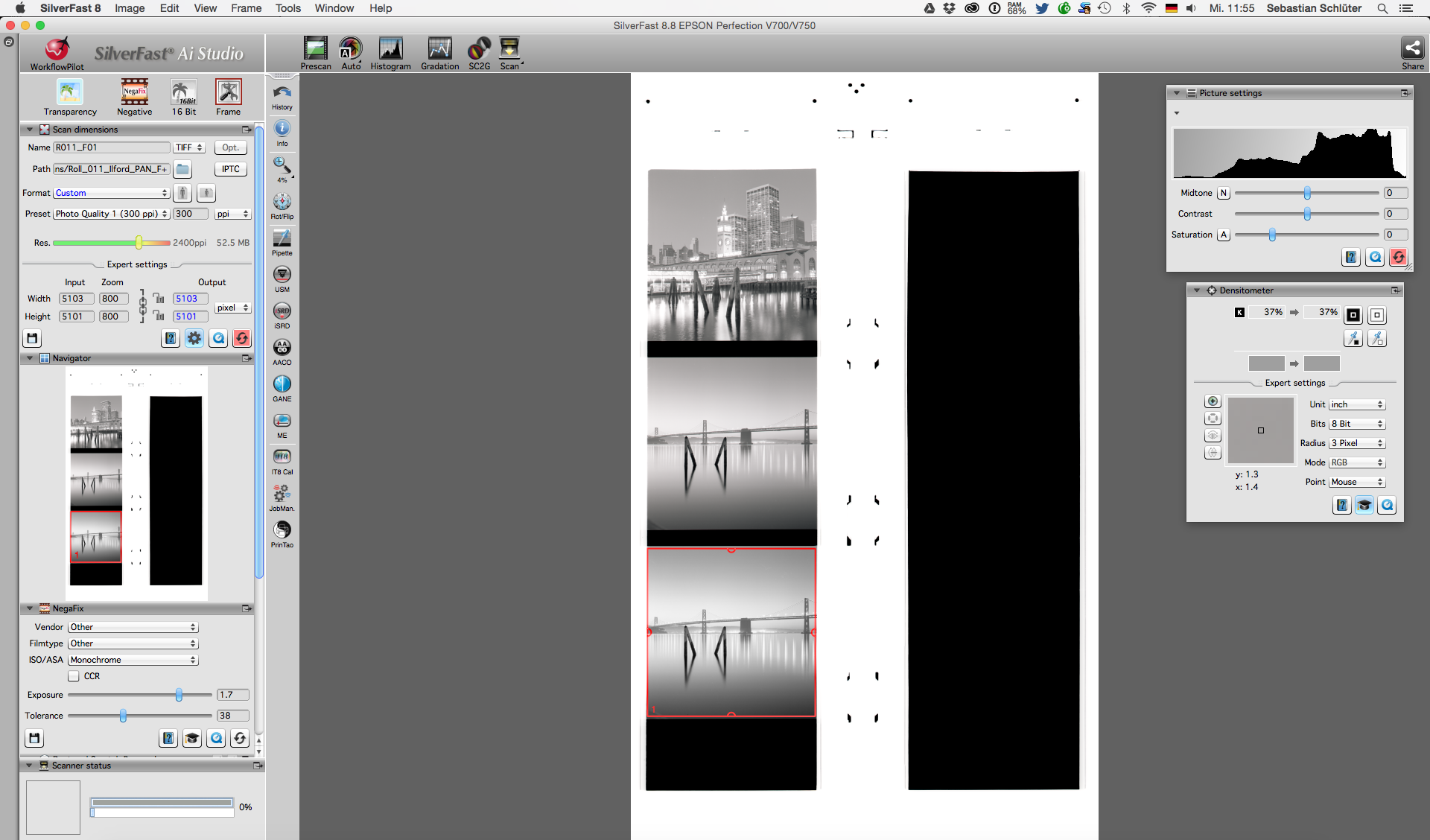 """The Silverfast 8.8 interface after the prescan. The red frame will indicate the scan area. Click on the """"Zoom"""" icon to make fine adjustments to the scan area. Make sure you scan as Tiff and select 16bit grayscale for black and white film."""