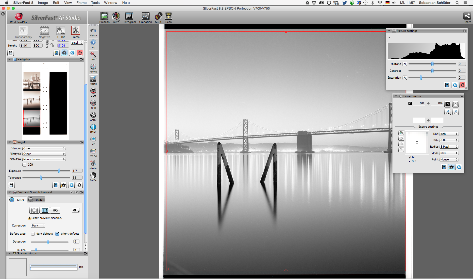 """In order to allow the """"Negafix"""" algorithms to work properly it is important to place the scanning frame inside the negative. This seems to be more important for color film than black and white film, but black and white point setting can be significantly off when including unexposed film areas into the scan frame."""