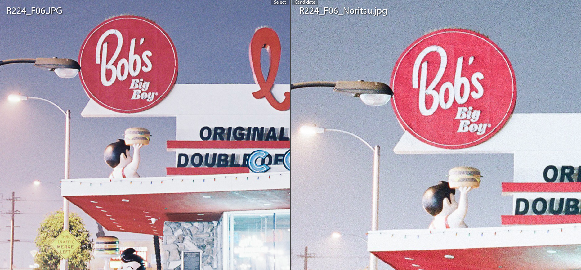 100% view - Fuji Frontier on the left vs. Noritsu on the right - Obviously the little smaller resolution of the Frontier can be noticed at 100%. Pixel quality in both scans is outstanding. Grain and sharpness is what I would expect from a good and detailed scan.
