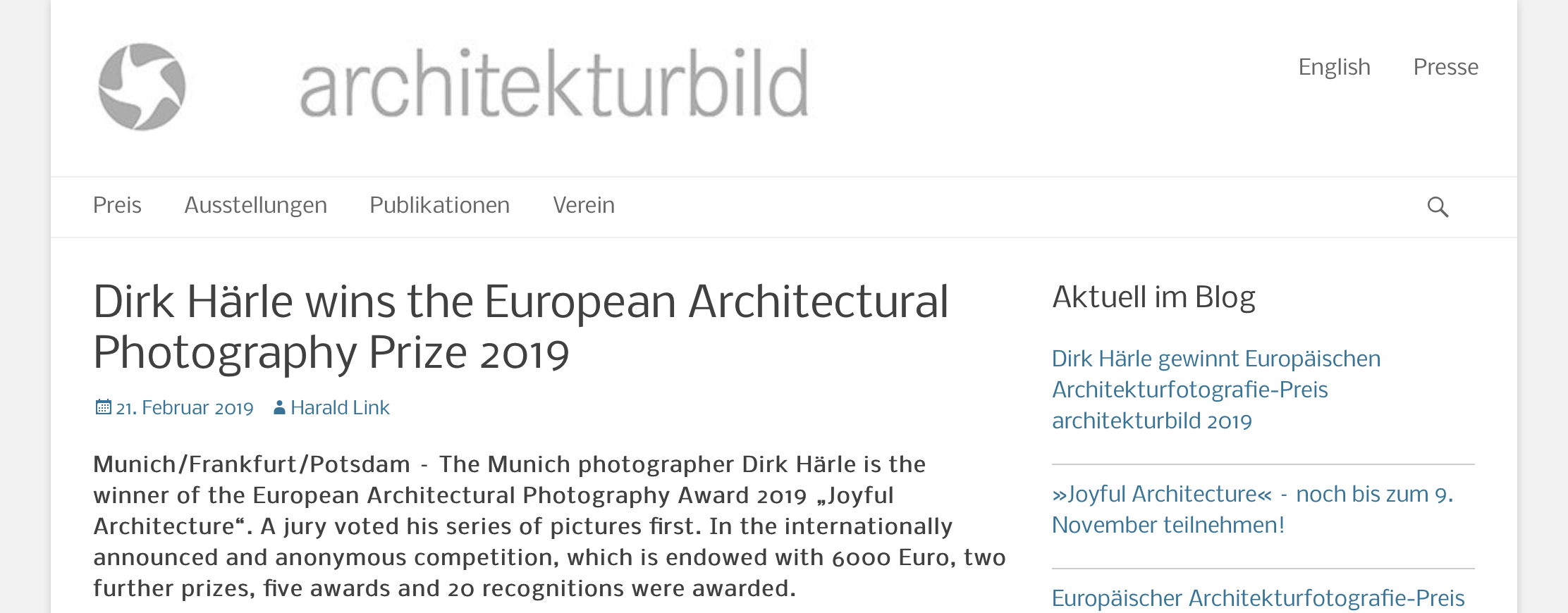 architekturmild e.v. is announcing the winners of the European Architectural Photography Prize 2019