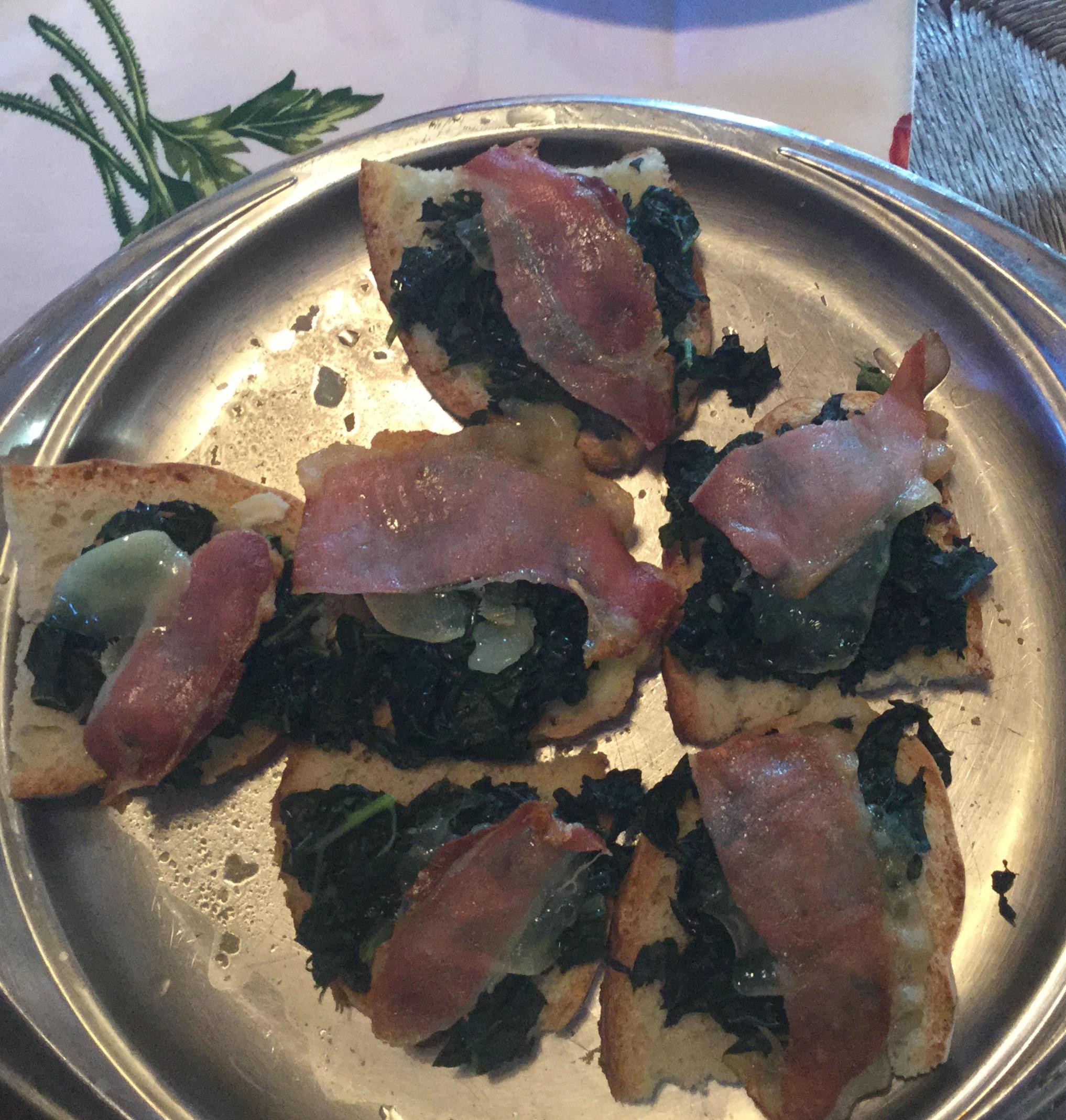 Crostini with Cavolo Nero, Prosciutto and Parmesan