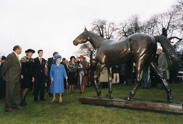 Caroline with HM Queen Elizabeth the Queen Mother and her racehorse 'Special cargo' at Sandown Park racecourse
