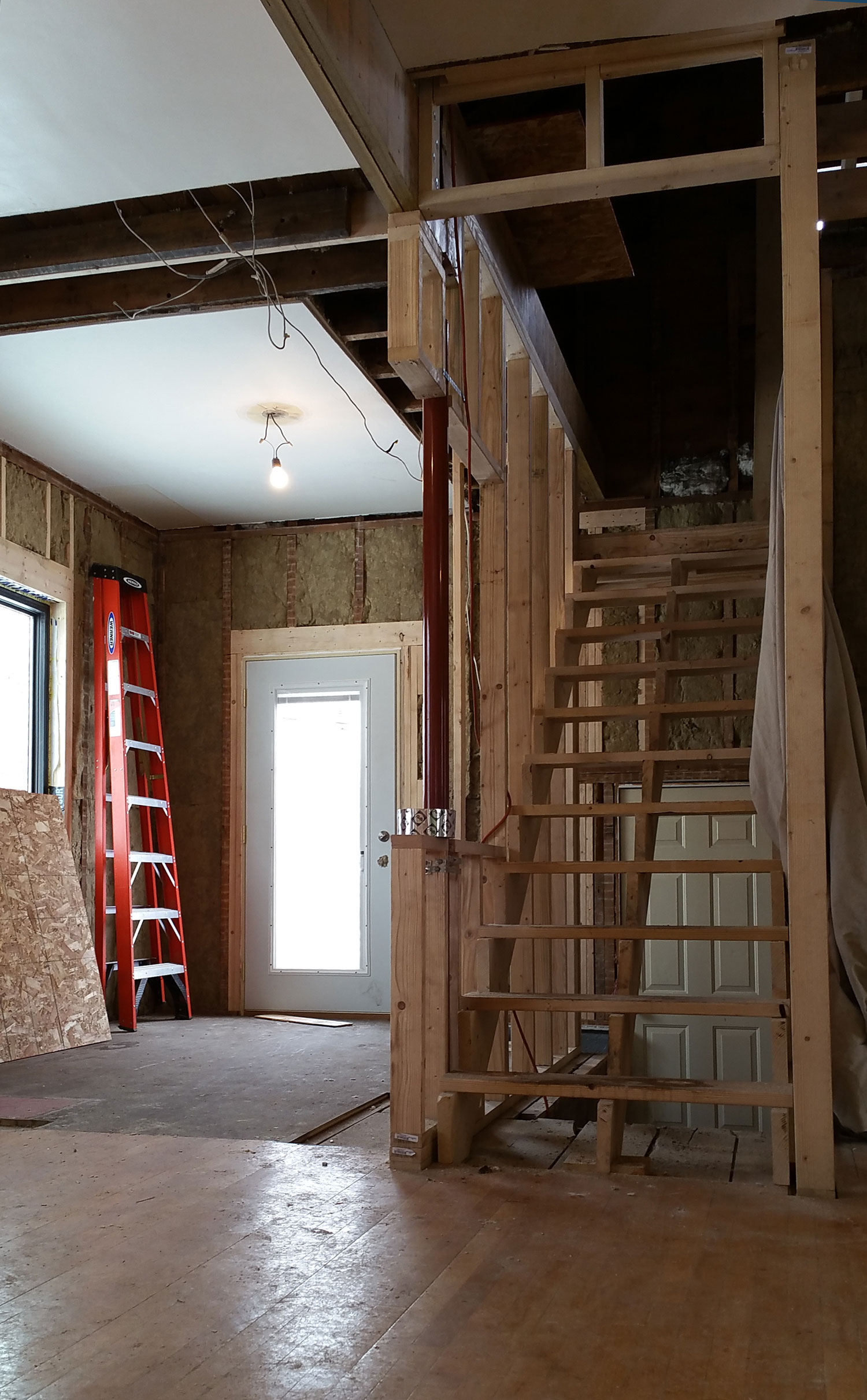 Progress view of new stair and breakfast room