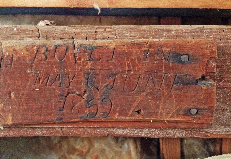 Original 1852 inscription date of barn