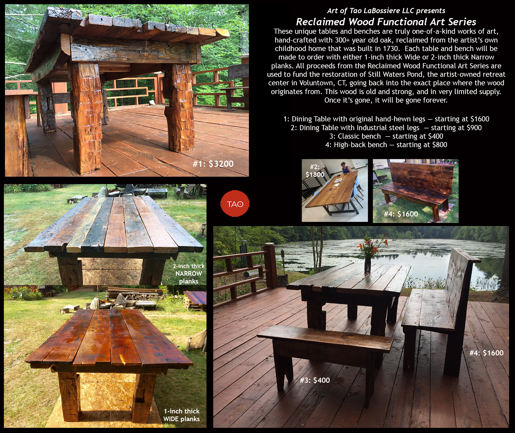 Contact us to claim one of these beautiful hand-made tables, or custom-order one to your exact size specifications.