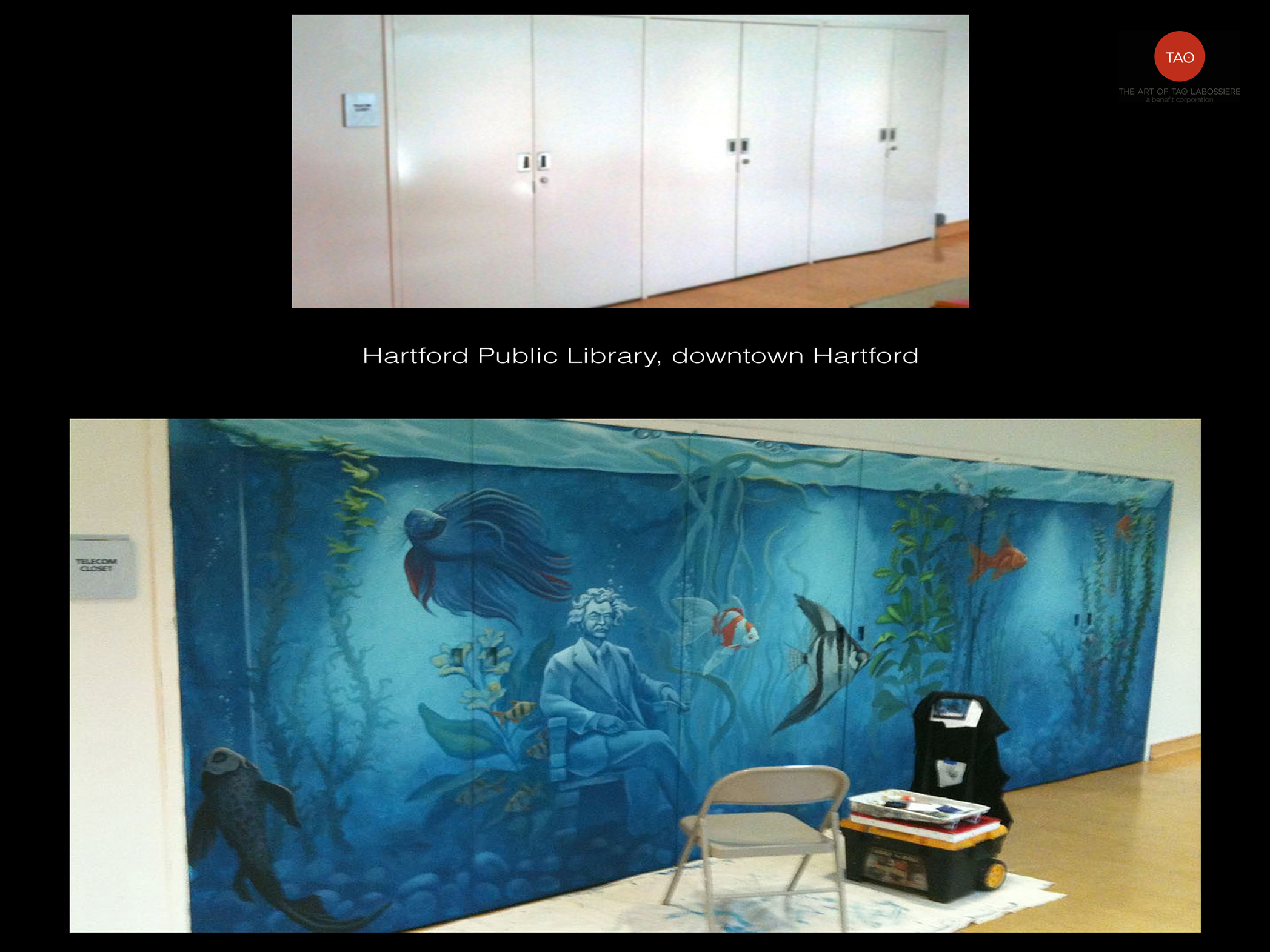 Hartford Public Library mural example. The client wanted something beautiful for to cover their electrical doors and Tao proposed this solution. It looks amazing for years now outside the administrative offices.
