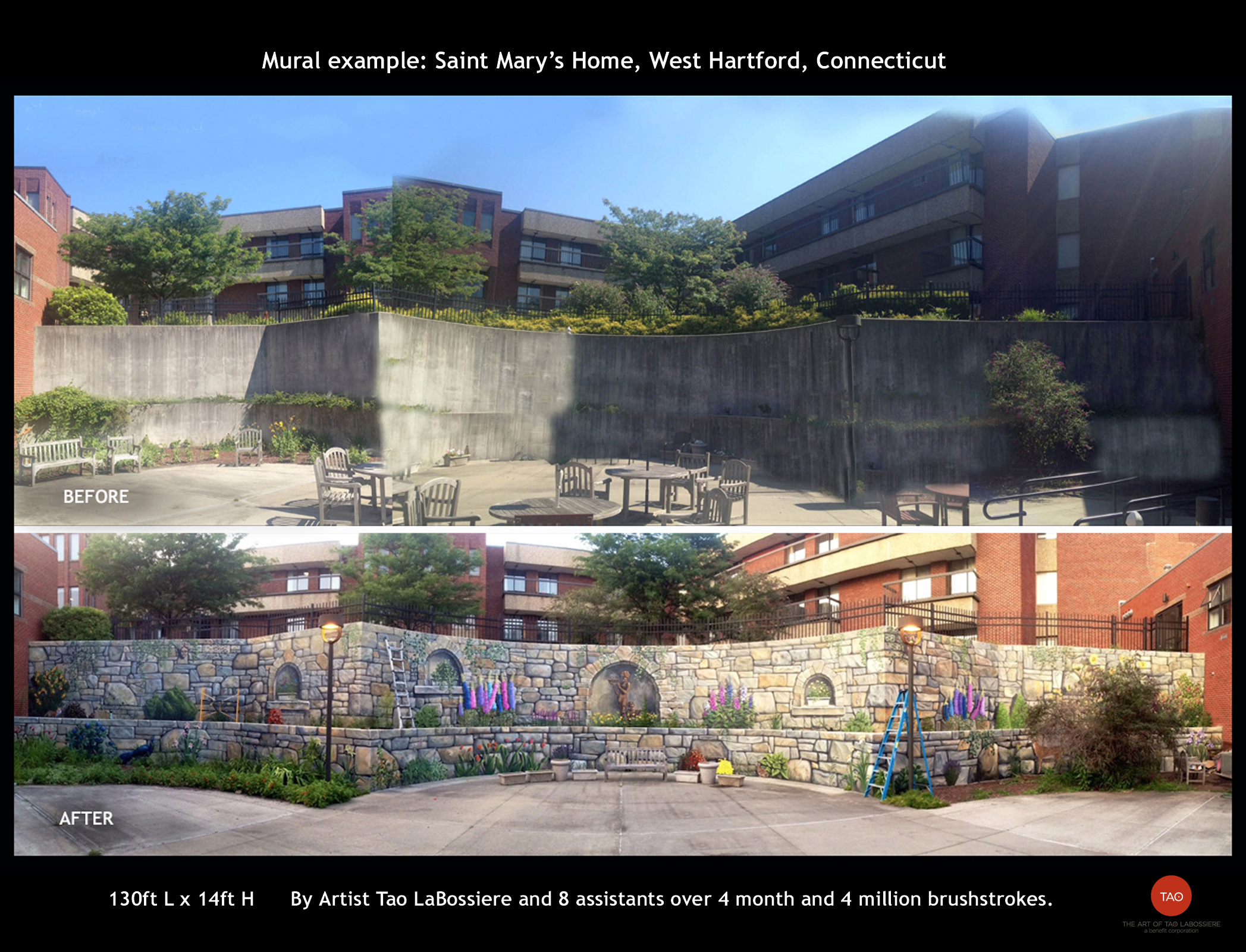 Saint Mary Home before and after. We transformed this depressing wall into a pleasurable outdoor experience for the client, their residents and visitors.
