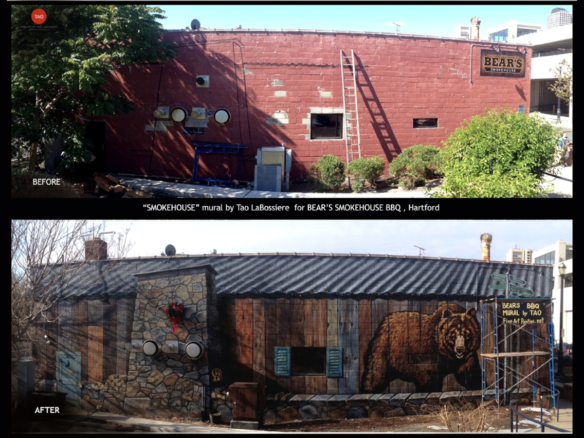Before and After: Bear's Smokehouse BBQ, Front Street, Hartford, CT. The client asked that we include the smokers in the design and the result was a transformed brick wall that looks like a smoke shack. We are honored to have this mural greet many visitors to Hartford as they arrive to the city.