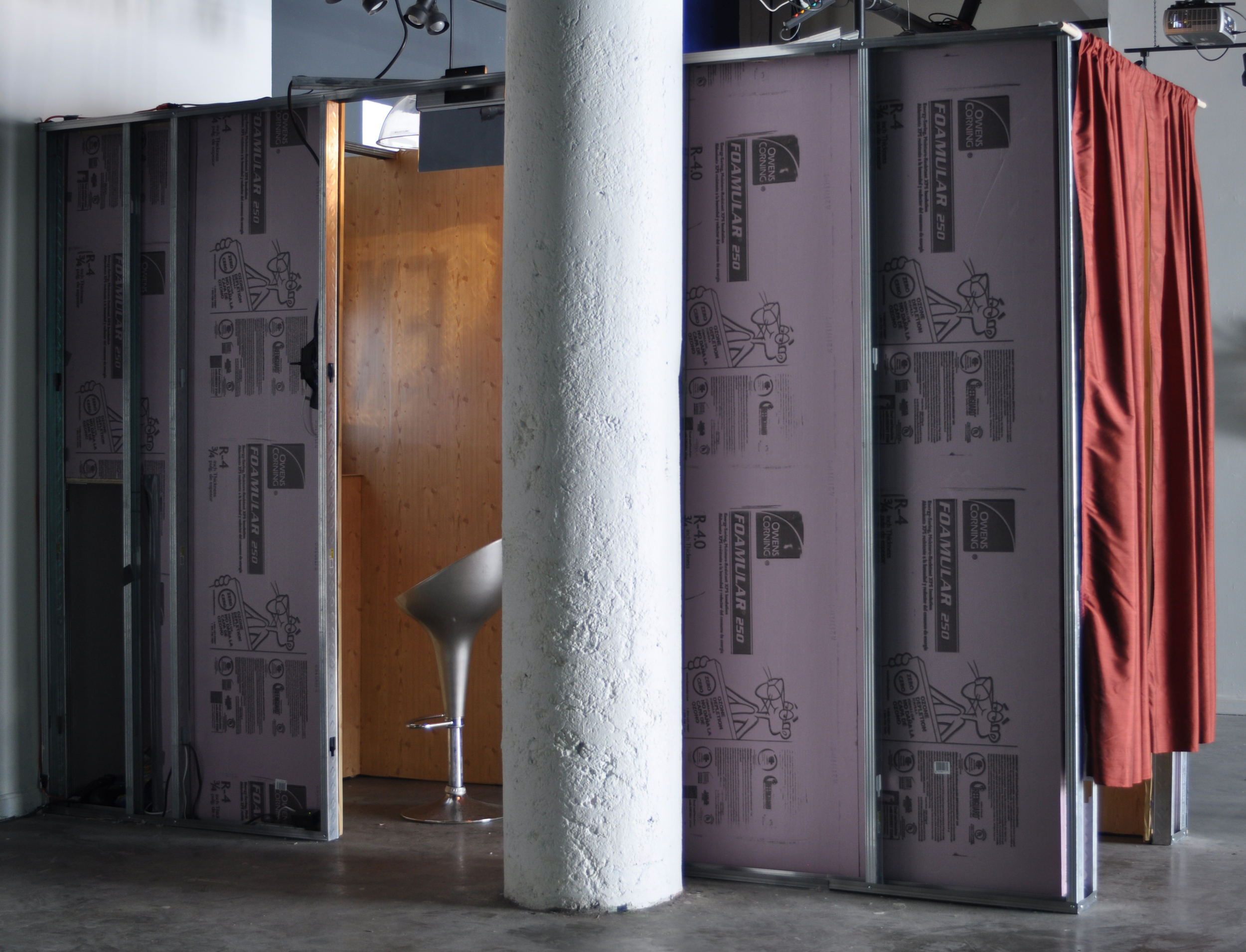 WHERE EVER YOU GO, THERE YOU ARE   Apfil 2012. Fourth Wall, Boston, MA. Mixed media installation, metal studs, rigid insulation, Con-Tact® paper, furnishings and  video . 4' x 12' x 18'.