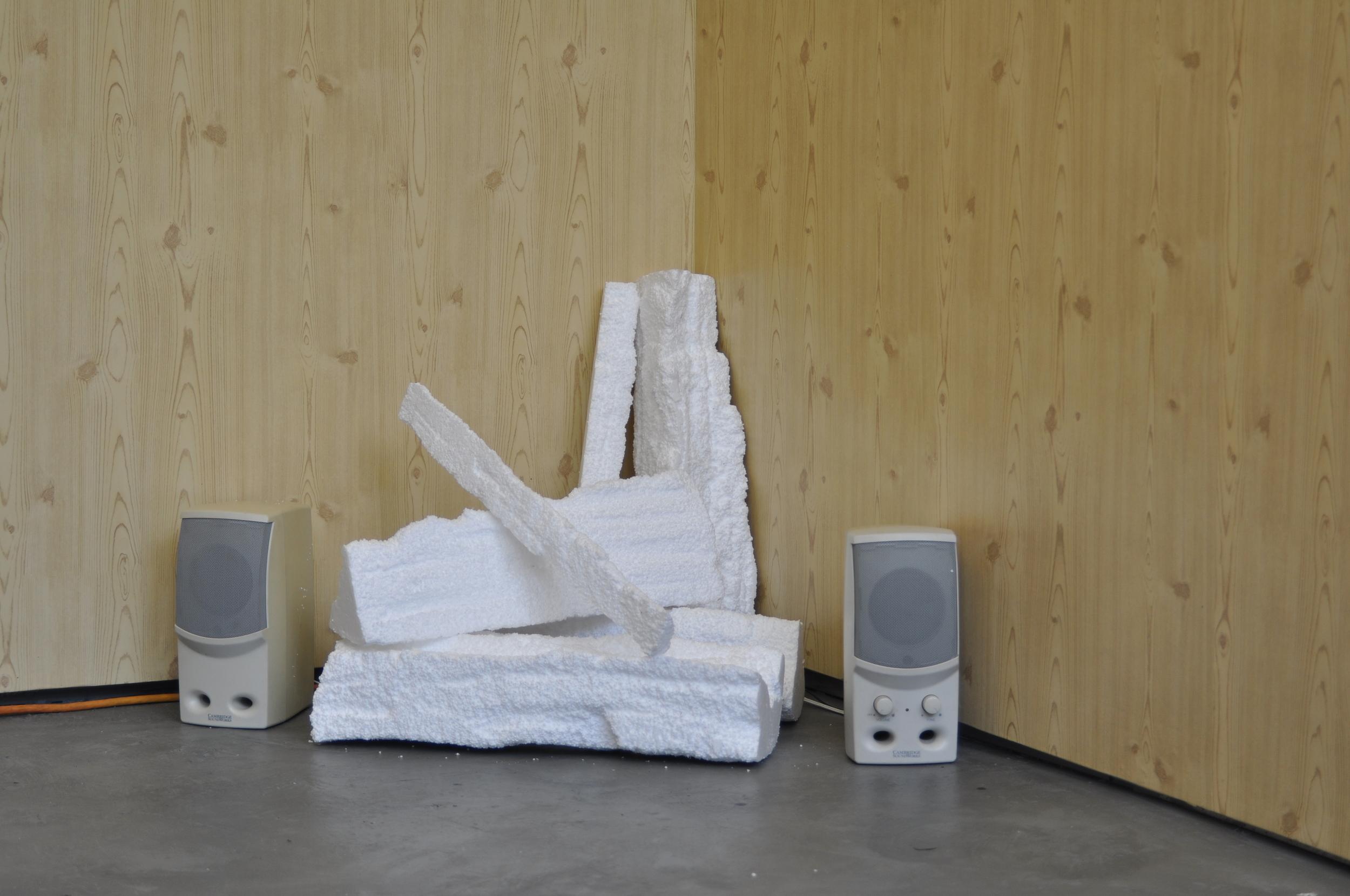 MERI'S ROOM   December 2011. SMFA Mission Hill Studios, Boston, MA. Mixed media installation; rigid insulation, Con-Tact paper, vintage poster, repurposed objects and audio. 10' x 13' square.