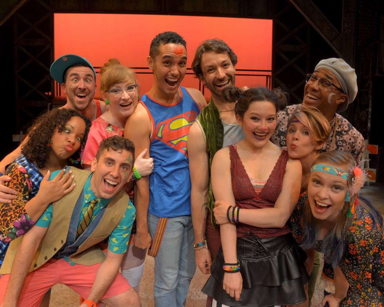 Cast of Godspell, WBT (3rd from left)