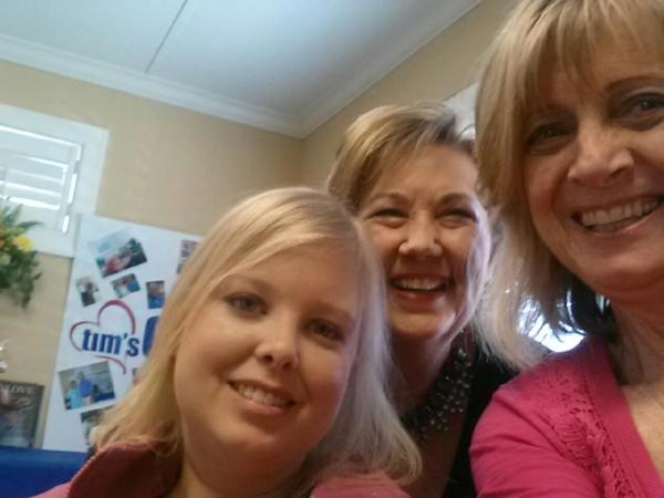 Jennifer, Becky, and Eleanor enjoy a recent prayer-lunch.
