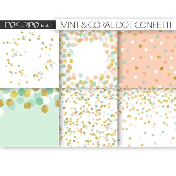 Mint & Coral Dot Confetti