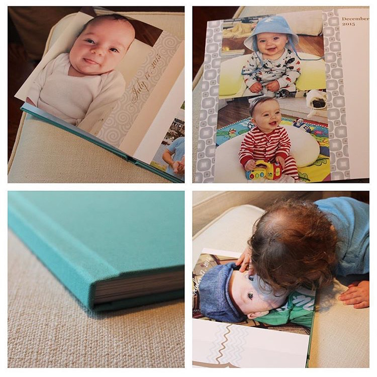 """reading"" our new @helloshortcake album of Cam's first year. yes, he's kissing a photo of himself. 😘"