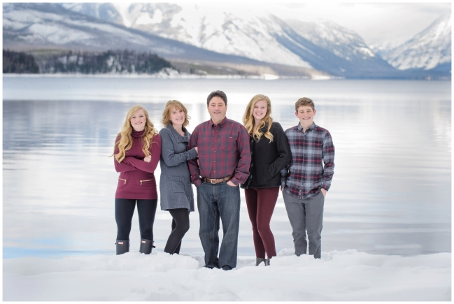 Notice that Dad's plaid shirt doesn't overpower, it is subtle. This theme color is maroon with neutral grays, blacks, and denim, and pairs nicely against the natural scenery. | Photo credit:  http://shawnabensonblog.com