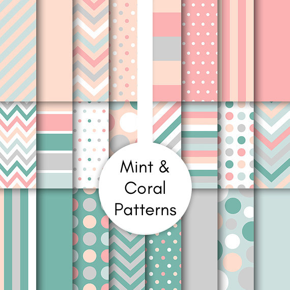 Mint & Coral Patterns