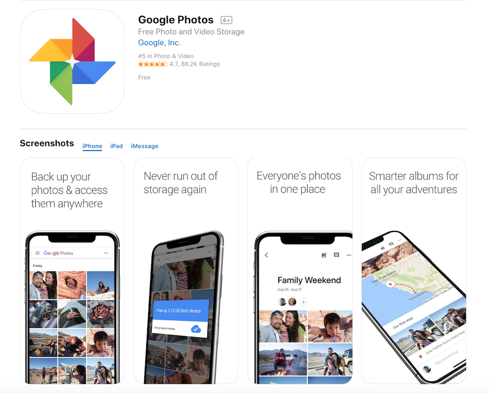 A screenshot of the Google Photos app in the iTunes store.