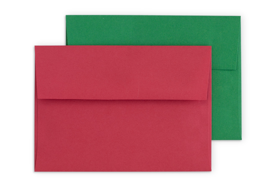 Premium: festive Red or Green envelopes with square flap