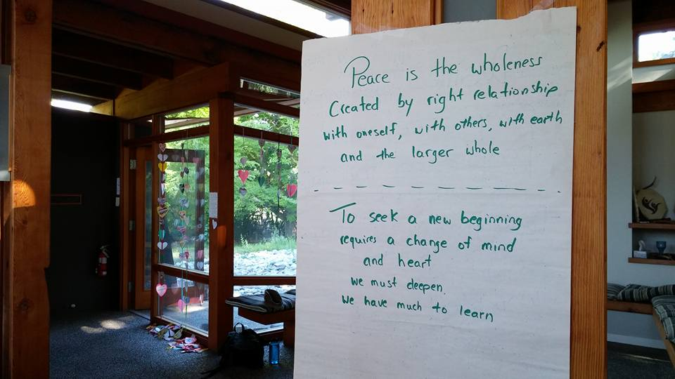 "Sunday worship, lyrics of Nancy Nordlie, ""Peace Is the Wholeness"". August 2015"
