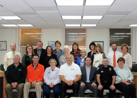 The 2016/2017 Board of Trustees of the Bowling Green Community Foundation:  1st Row (left to right) – Brian Craft, Jim Elsasser, Kristin Otley, Cal Bowers, Owen Beck, Tony Hetrick, Doris Herringshaw.  2nd Row – Doug Cubberley, Delaney Doup, Deanna Vatan, Janelle LaFond, Cheryl Windisch, Marie Pendleton, David Anderson, Lesley Riker  Back Row – Dave Shilling, Emily Dunipace, Sandy Leuck (Administrative Assistant), Tari Christoff  Absent – Kevin Cochrane and Sharon Hanna