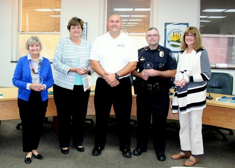 Cal Bowers presented glass service awards to our four outgoing trustees. All four of these trustees served two terms of three years each for a total of six years. The BGCF would like to thank Cheryl Windisch, Doris Herringshaw, Marie Pendleton, and Tony Hetrick for their outstanding service to the foundation.  The annual election of officers was held at the October 2017 meeting. The trustees approved the following officers for a one year term: President – Kristin Otley, President Elect – Jim Elsasser, Immediate Past President – Cal Bowers, Secretary – Brian Craft, Treasurer – Owen Beck (2 year term).  Cal Bowers, Doug Cubberley, and Janelle LaFond were approved for a second three year term.  Four new trustees were approved by the board of trustees: Steve Arnold, Matt Karaffa, Ann McCarty, Kacee Ferrell Snyder