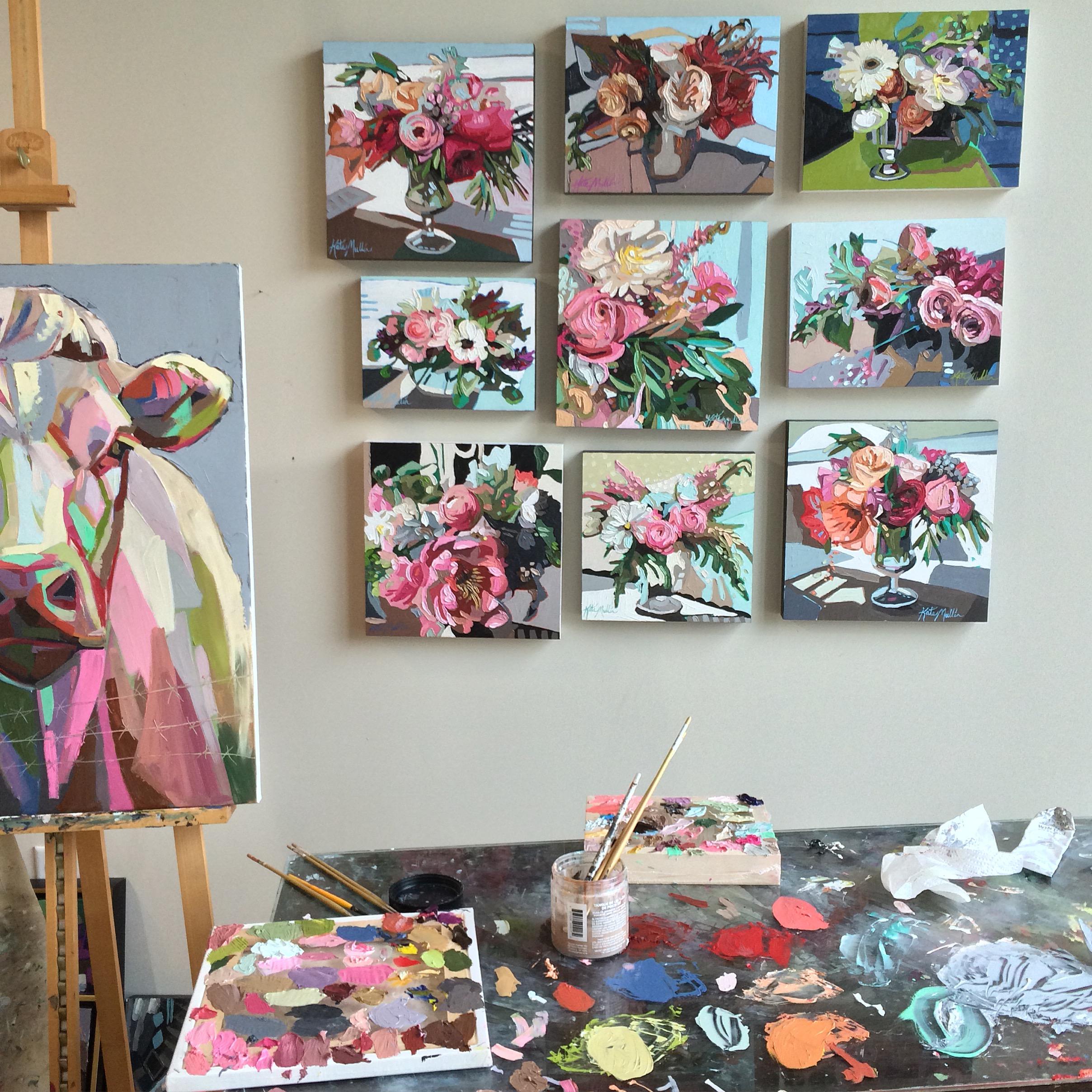 Kate Mullin Cow & Flower Paintings