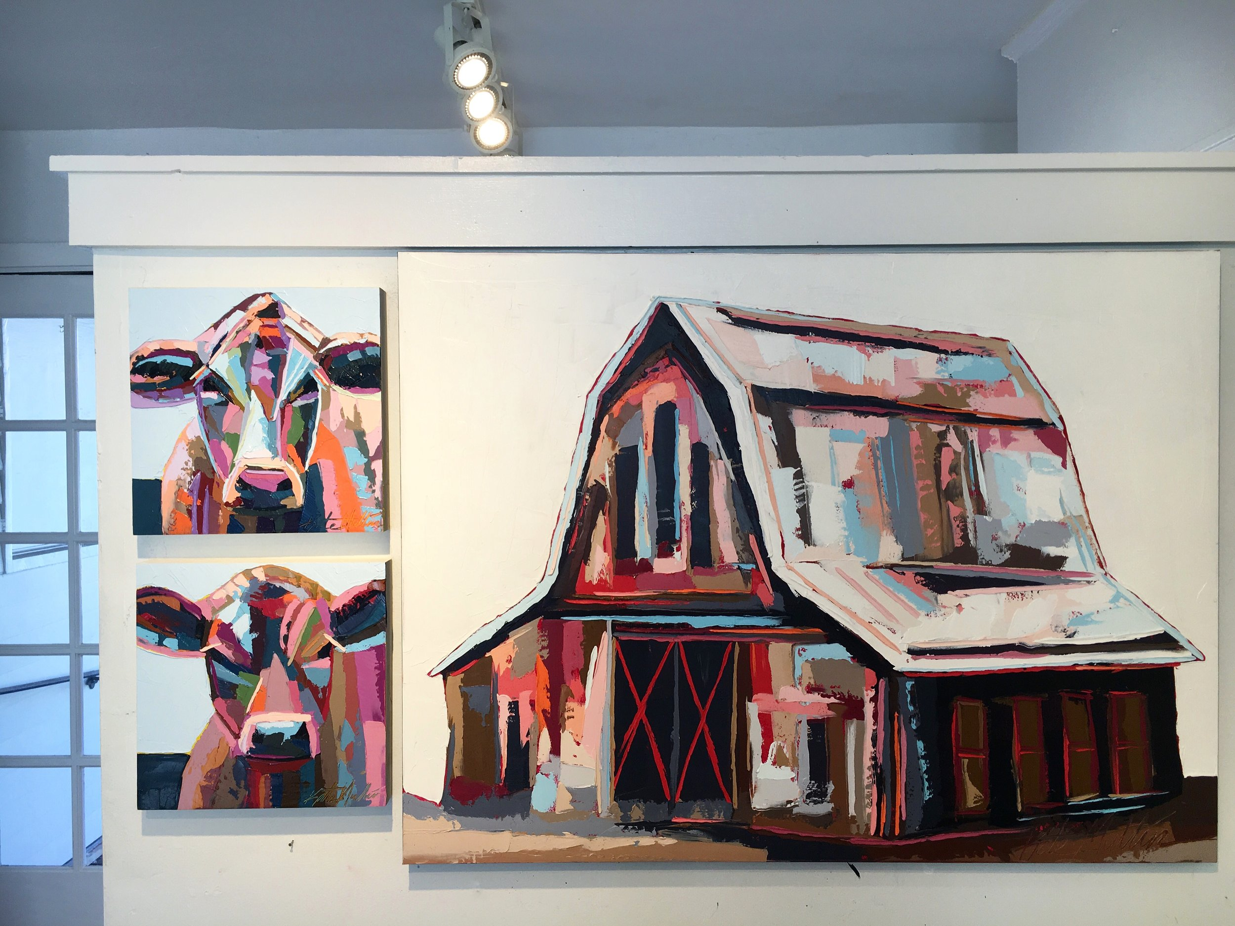 Kate Mullin Williford: Barn and Cow Oil Paintings