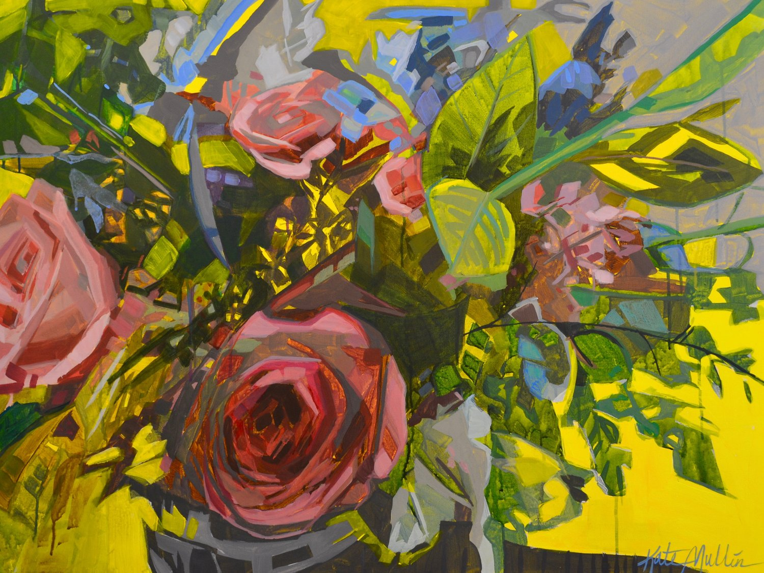 Yellow Burst Floral. Kate Mullin Williford. Acrylic