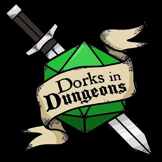 NEW LOGO! Thanks @rageofthenerd!! . . . . . #dorks #dorksindungeons #d20 #dungeonsanddragons #dnd #pathfinderrpg #savageworlds #rpg #tabletopgames #improvcomedy #portsmouthnh #tabletoprpg #faterpg #seacoastnh #dungeonworld #logo #sword #dice #graphicdesign