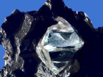 Rough diamond in matrix. Pic via  Wikicommons