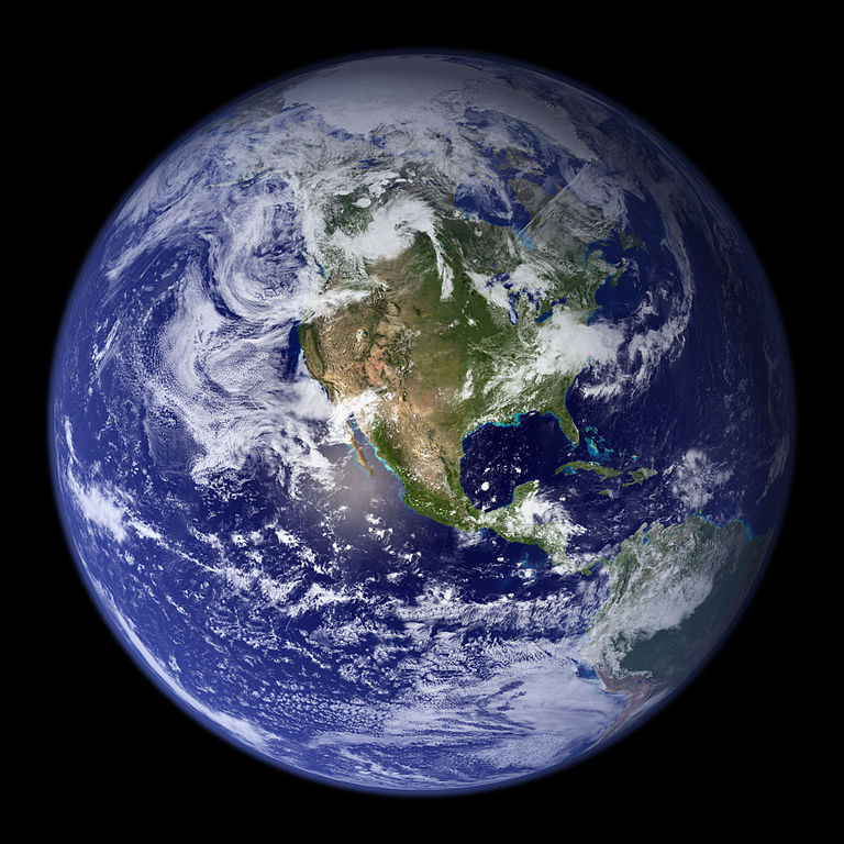 Western hemisphere of the planet. Photo by  NASA .